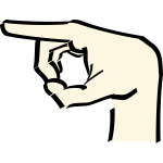 Hand with raised index finger