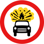 No vehicles carrying explosives vector sign