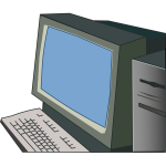 Desktop computer vector drawing