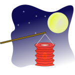 Chinese lantern on moonlight vector graphics