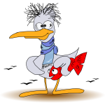 Duck with fish vector drawing
