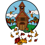 School in Fall Vector Illustration