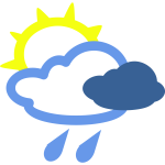 Sunny and rainy day weather symbol vector image
