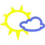 Sunny with some clouds weather symbol vector image