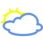 Light clouds with some sun weather symbol vector image