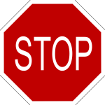 Vector illustration of a warning STOP sign