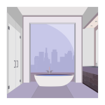 Vector image of penthouse bathroom