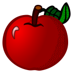 Fresh red apple line art vector clip art