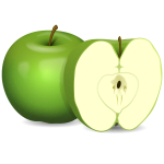 Vector image of apple and apple cut in half