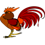 Color illustration of a rooster