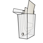 Vector drawing of open see-through archive box