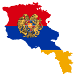 Armenia Map Flag With Coat Of Arms