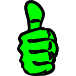 Vector clip art of strong green hand thumbs up