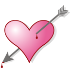 Vector clip art of a heart pierced with an arrow