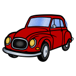 Vector illustration of old red car