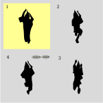 Vector image of four steps of Awa dance