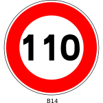 Vector drawing of 110 speed limitation traffic sign