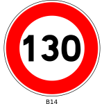 Vector graphics of 130 speed limitation traffic sign