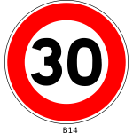Vector illustration of 30 speed limitation traffic sign
