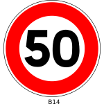 Vector clip art of 50 speed limitation traffic sign
