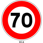 Vector image of 70 speed limitation traffic sign
