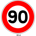 Vector illustration of 90 speed limitation traffic sign
