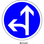 Straight and left direction road sign vector image