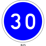 Vector clip art of 30mph speed limitation blue round French roadsign