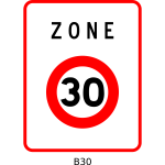 Vector illustration of 30mph speed limitation zone square French roadsign