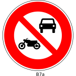 No motorcycles and cars road sign vector image