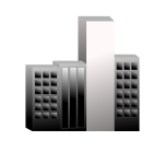 Vector graphics of group of buildings with one lighter than the others