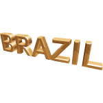 Word Brazil in gold vector image