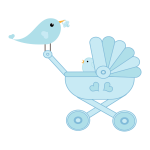 Bird taking care of its baby clip art