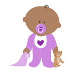 Image of baby in purple clothing