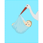 A stork with newborn baby