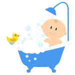 Cartoon baby boy taking a bath