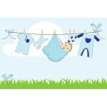 Comic baby boy on a clothesline