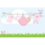 Cartoon baby girl hanging on clothesline Outside