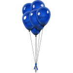 Vector image of blue balloons on strings with ribbon