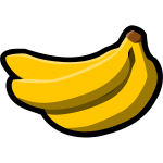 Vector drawing of thick black outline color banana
