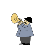 Man playing cornet vector illustration