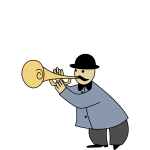Vector imageof man playing horn