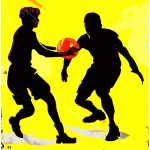 Basketball game scene silhouette vector sketch drawing