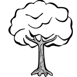 Lineart vector clip art of a tree