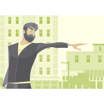 Vector clip art of bearded man pointing