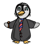 Penguin dressed in a coat