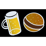 Beer and hamburger