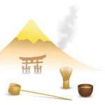 Japanese tea scene vector drawing