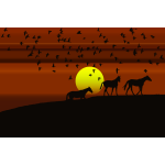 Birds And Horses Silhouette Sunset 3