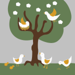 Birds and chickens vector image